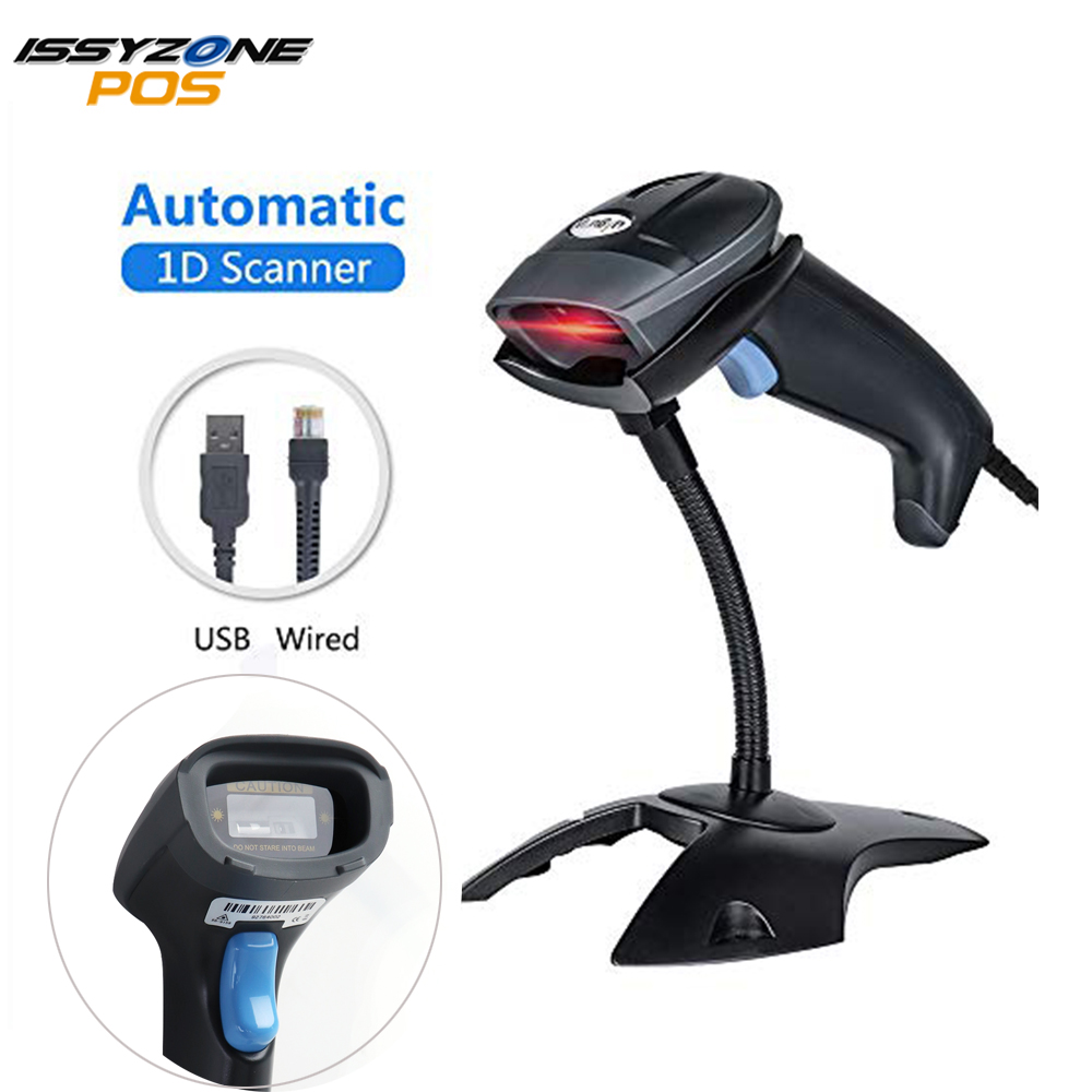 ISSYZONEPOS 1D Barcode Scanner Handheld Laser CCD Bar codes Scanner Wired Automatic Barcode Reader Anti-Shock Scanner with Stand