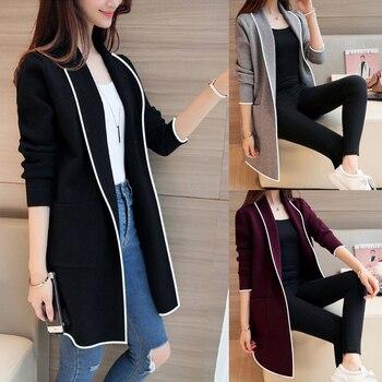 black Women Long Coats Long Sleeve Casual OL Spring Cardigan Pocket Solid Jumper Coat Black Gray Ladies Casual Jacket
