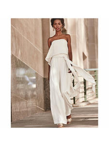 Sleeveless Overalls Jumpsuits Off-Shoulder White Wide-Leg Sexy Summer Women Fashion Holiday