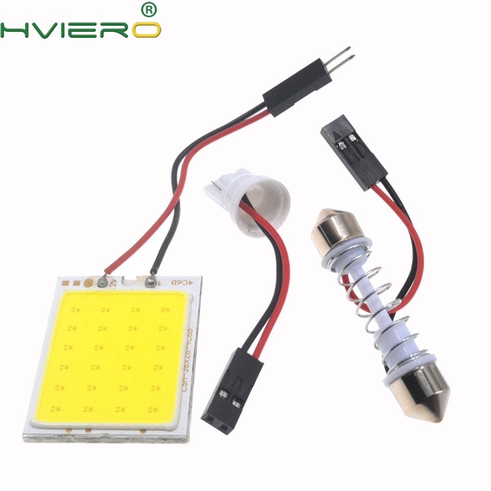 2Pcs White Red Blue T10 24 Smd Cob Led Panel Car Auto Interior Reading Map Lamp Bulb Light Dome Festoon BA9S 3Adapter DC 12v Led ba9s 0 15w 5lm 1 led white light car indicator bulb transparent 2 pcs dc 12v