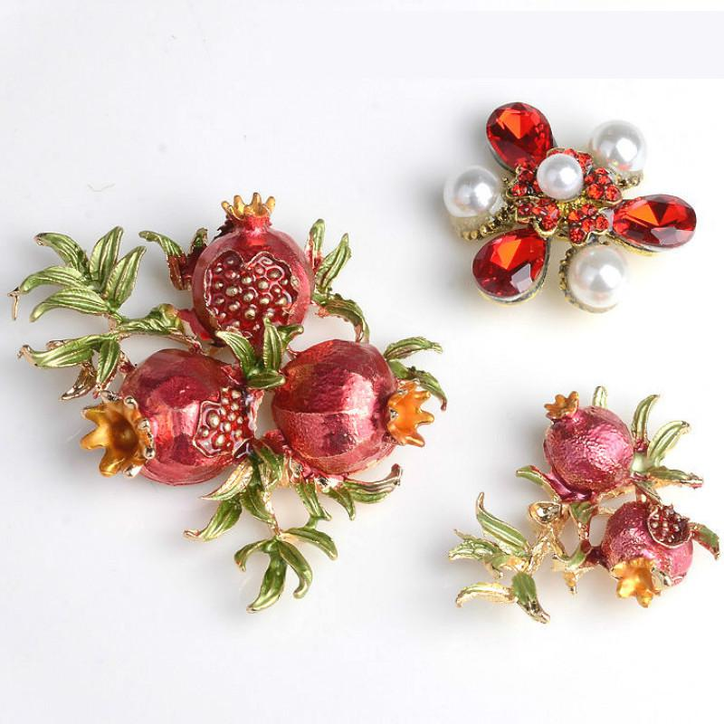 Pearl Rhinestones Flower Pomegranate Metal Findings For Jewelry Making Supplies Diy Decoration Accessories Hand Made Materials