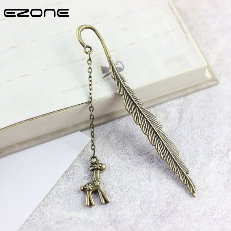 EZONE Vintage Feather Bookmark With Beer/Flower/Key/Elk/Leaves/Tree/Tassel Pendant Book Mark For Reading Gift Student Stationery
