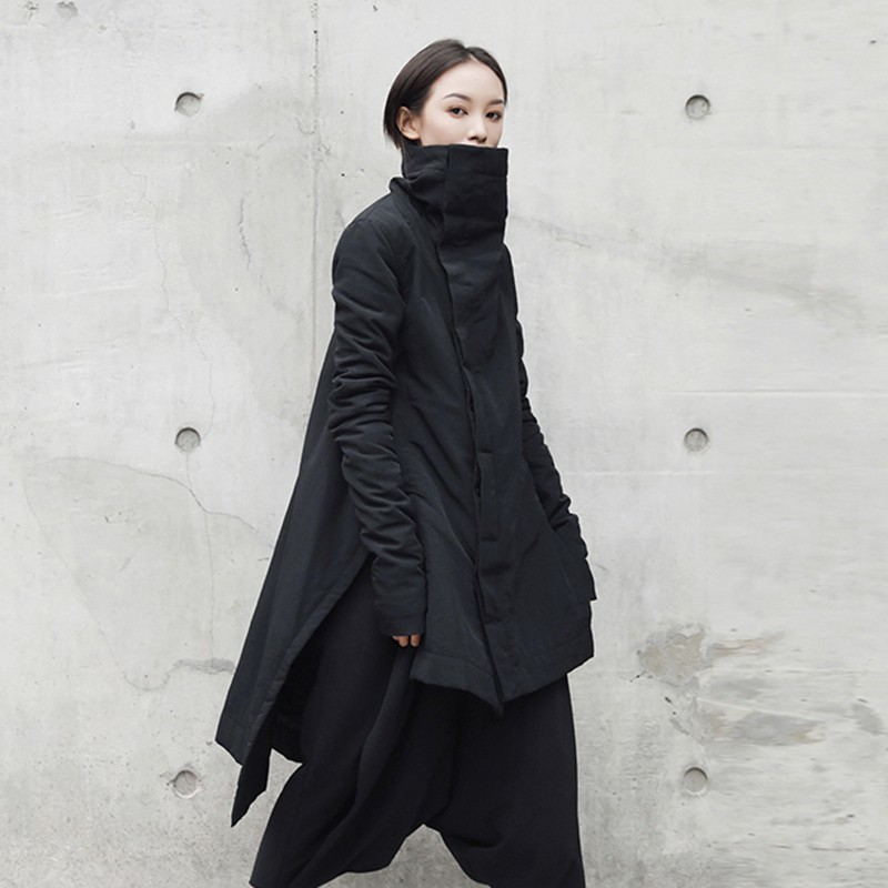 CHICEVER Winter Women's Park Coat Female Jackets Turtleneck Long Sleeve Asymmetric Hem Black Jacket Fashion Clothing Tide