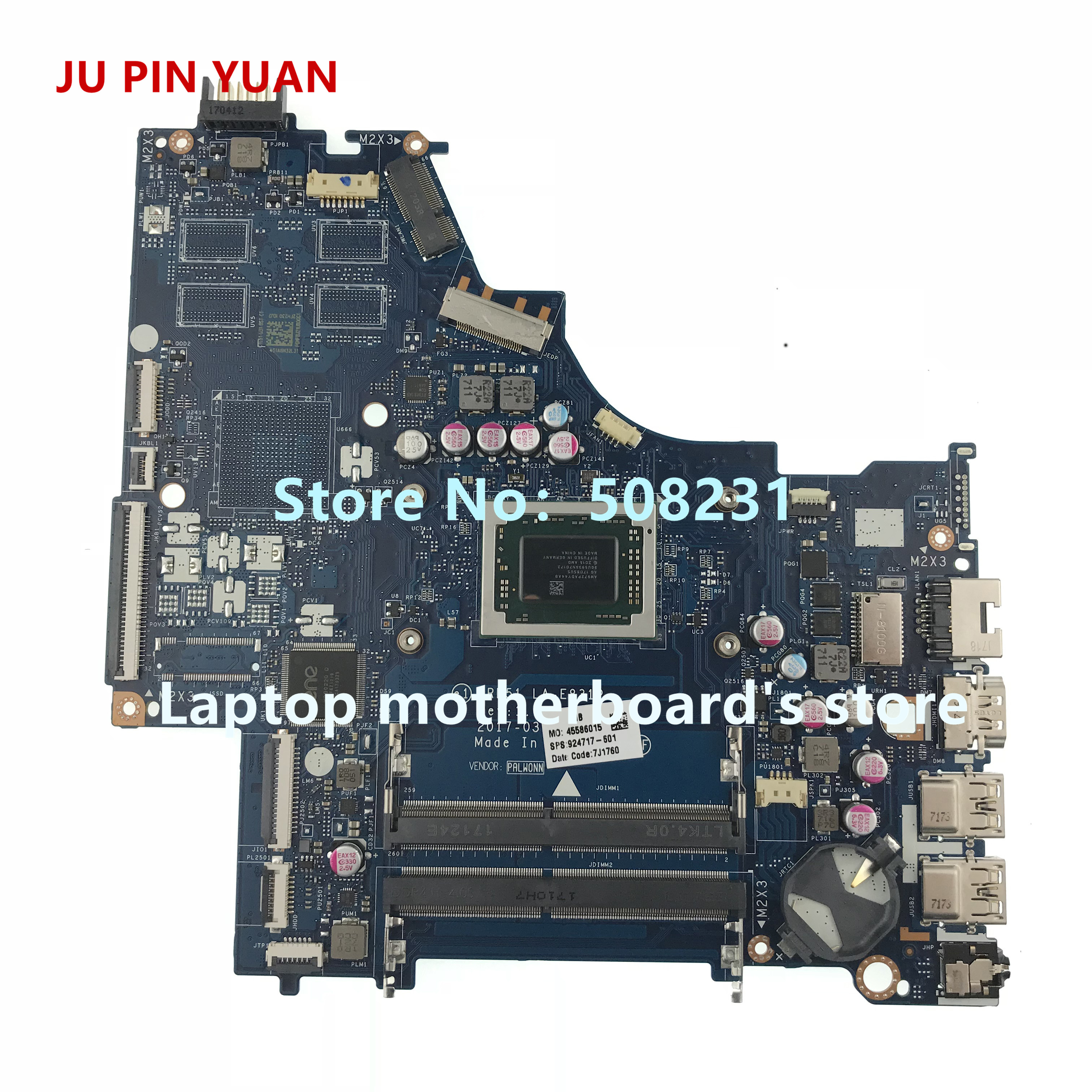 JU PIN YUAN 924717-601 CRL51 LA-E831P mainboard For HP NOTEBOOK 15-BW 15-BW033WM Laptop Motherboard A12-9720P fully TestedJU PIN YUAN 924717-601 CRL51 LA-E831P mainboard For HP NOTEBOOK 15-BW 15-BW033WM Laptop Motherboard A12-9720P fully Tested