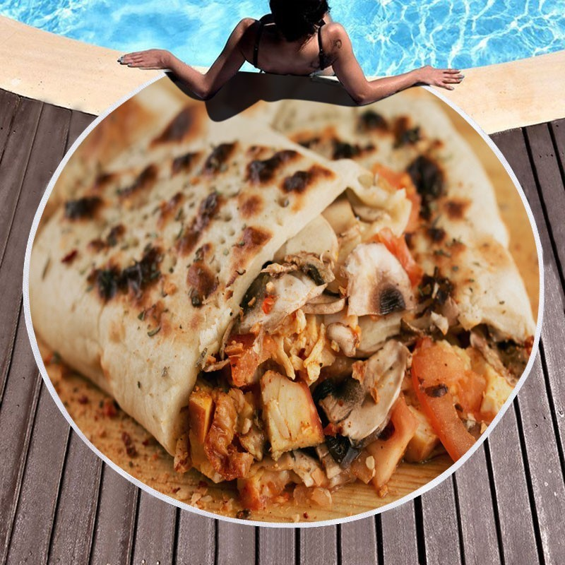 Home 150cm Microfiber Mexican Tortilla Summer Beach Towel Outdoor Camping Picnic Blanket Home Casual Sofa Throw Blanket