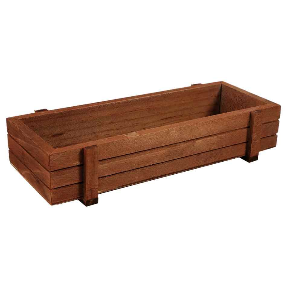 Garden Plant Flower Pot Decorative Wooden Boxes Planter Crates Rectangle Table Succulent Flower Pot Gardening Device Flowerpot