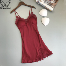 Queenral Women Nightgowns Summer Dress Sleepshirts Satin Night Female Sexy Sleepwear Chest Pads Homewear