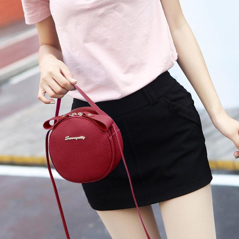 Сумка для мобильного телефона, новинка 2019, летняя мода, искусственная кожа, маленькая круглая сумка для женщин, Индивидуальная сумка на плечо, сумка личи рифма - 5