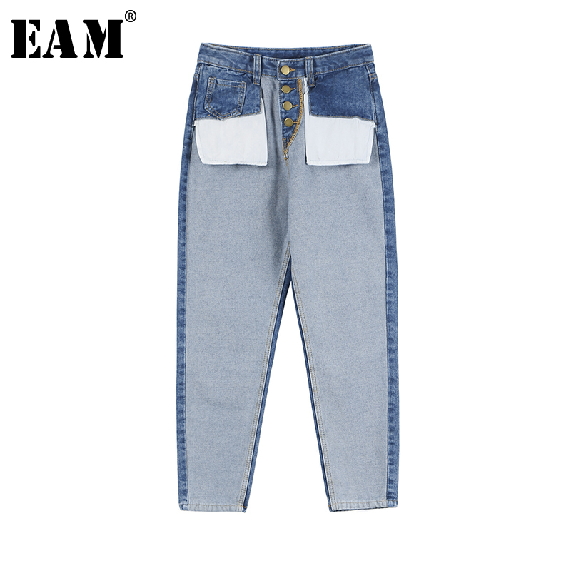 [EAM] 2019 New Spring Summer High Waist Loose Denim Pocket Split Joint Denim Wide Leg   Jeans   Women Trousers Fashion Tide JQ231