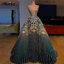 Neue Bling Saudi arabien Abendkleider Türkische Aibye Sleeveless Prom Kleid Formale Party Kleider Robe de soiree Longue Abendkleider