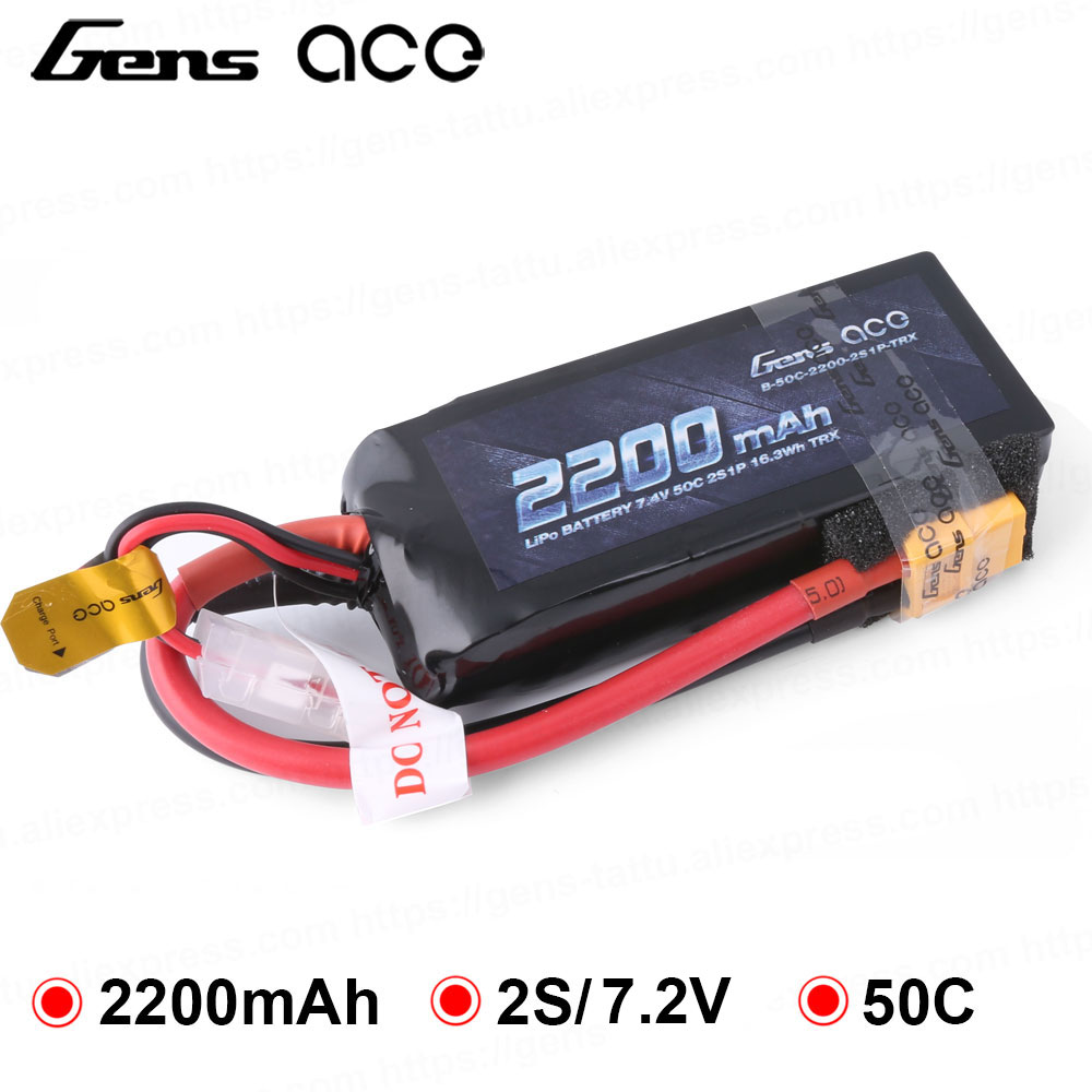 Gens ace 2s Lipo <font><b>Battery</b></font> <font><b>2200mAh</b></font> <font><b>7.4V</b></font> 50C XT60 TRX Plug for Traxxas Emaxx 1/16 VXL Models RC Car <font><b>Battery</b></font> Heli Airplane Boat Tool image