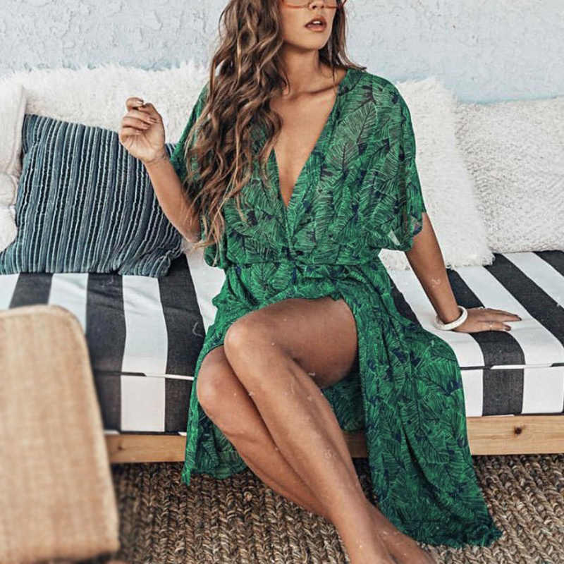 Women's Green Cover Up Chiffon Shawl Kimono Cardigan Tops Blouse Summer Beach