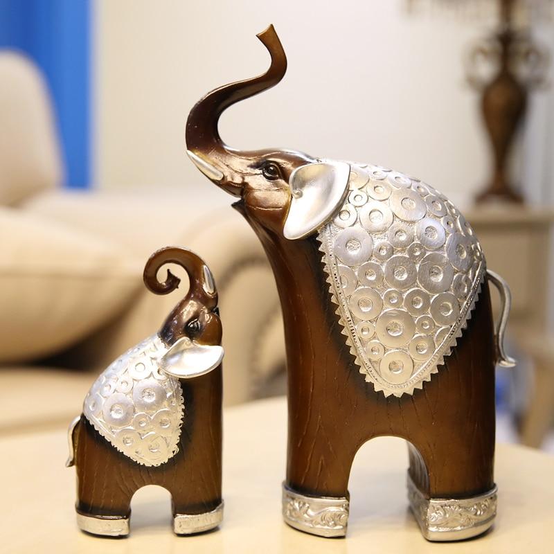 Fortune mascotte résine artificielle Royal noble 1 paire classique bois Grain mère fils éléphants résine Figurine créative animaux artisanat