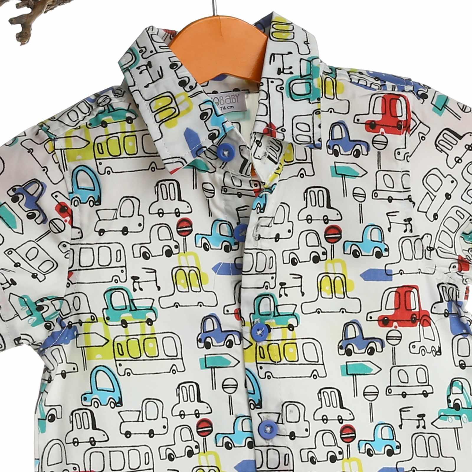 HelloBaby Bé Cổ Bẻ In Hình Thùng Cotton Cho Bé Gái và bé Trai