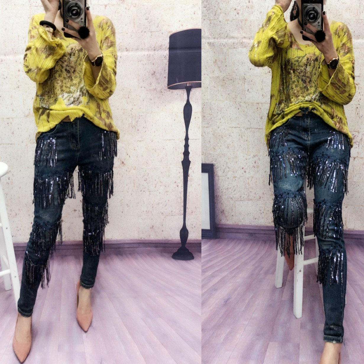 América Jeans Casual Lentejuelas Borla Cintura De Azul Europa Pantalones Moda Mujer Slim Lápiz Alta HfAAUdq