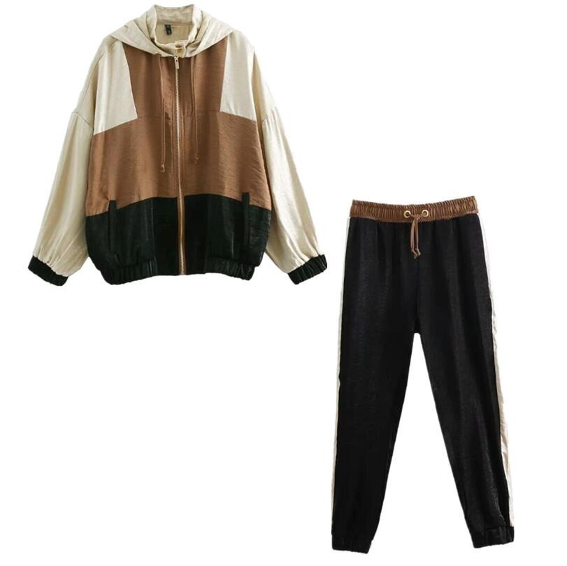 2019 Women New Arrival Hooded Patchwork Color Sweatshirt Causal Drawstring Striped Jogging Pants Women Tracksuits