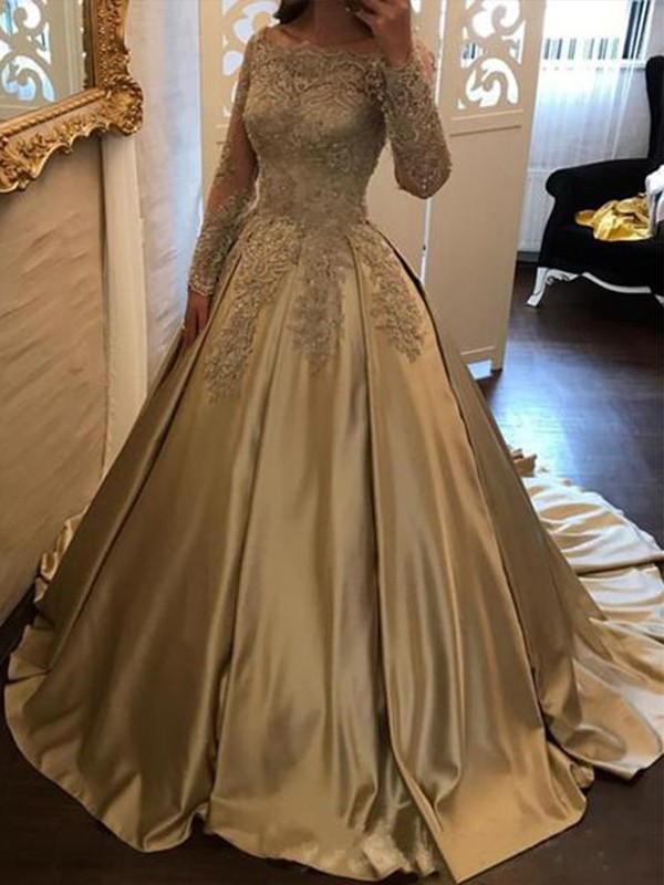 Long Sleeves Off-the-Shoulder Sweep Train Satin Elegant Party Ball Gown Evening Dresses