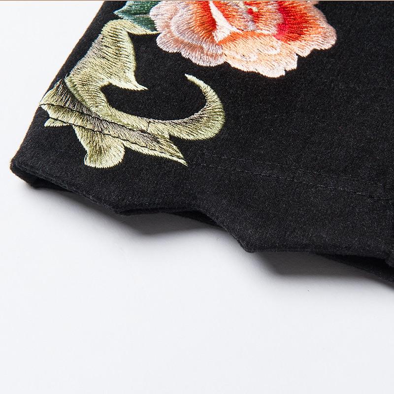 Mujeres Llegada Nacional Nueva Pantalones Diseño Dama De Bordado Elástica Black Lápiz Flores Cintura Lana Oficina 2019 qCwxdIE5x