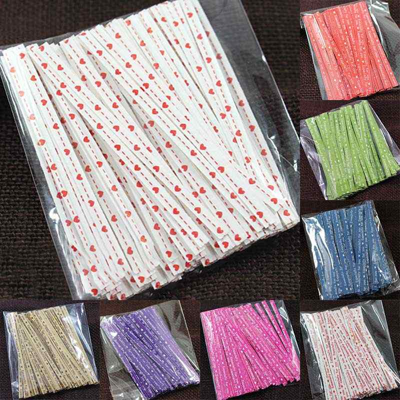 100Pcs Cake Gift Twist Tie Colorful Candy Bag Packaging Ligation Lollipop Dessert Accessories 9CM Wire Metallic Twist Ties
