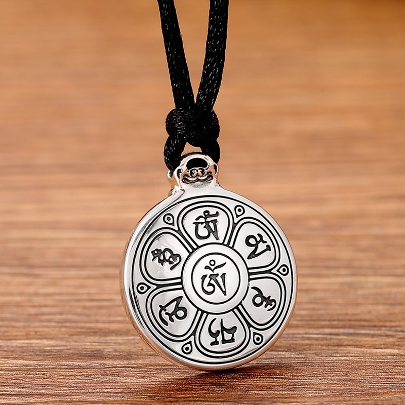 Image 5 - ZABRA Real 24k Gold And 999 Sterling Silver Buddhim Pendant Men Women Good Meaning Gift HipHop Man Vintatge Necklace Jewelry-in Pendants from Jewelry & Accessories