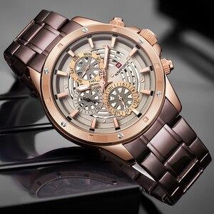 Image 4 - Relógio à prova dwaterproof água 24 horas relógio de pulso de negócios de aço completo relógios de quartzo criativo masculino topo de luxo marca naviforce
