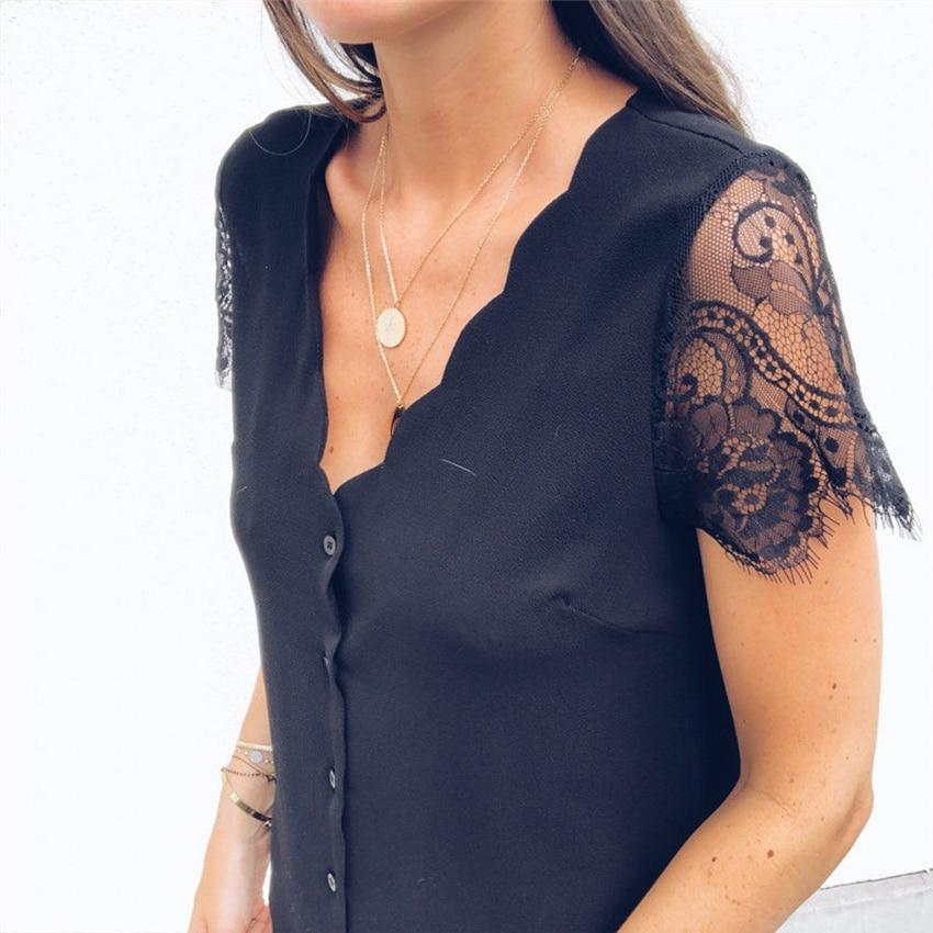 Women's Short Sleeve V Neck Lace Blouse Top