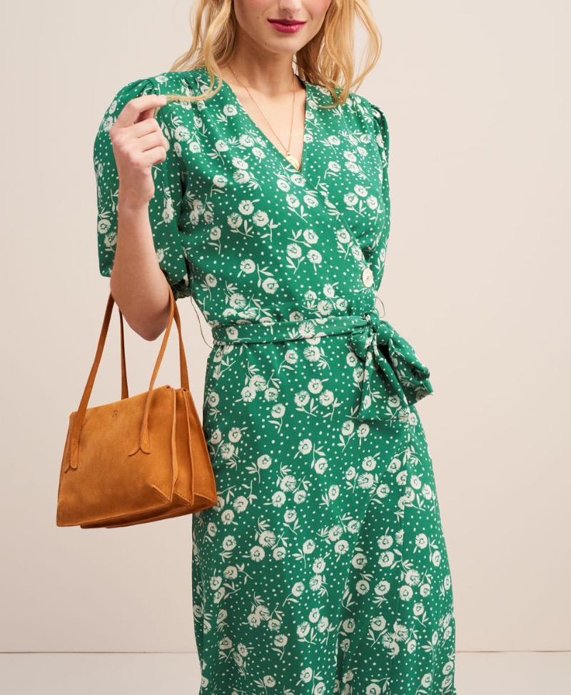 Top Version Stylish Floral Print Wrap V Neck Midi Dress Matching With Ties 2019 Spring Summer