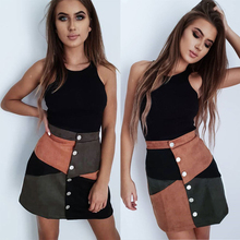 New Fashion Women Autumn Mini Skirt Sexy Ladies Single-breasted Hips-Wrapped A-l