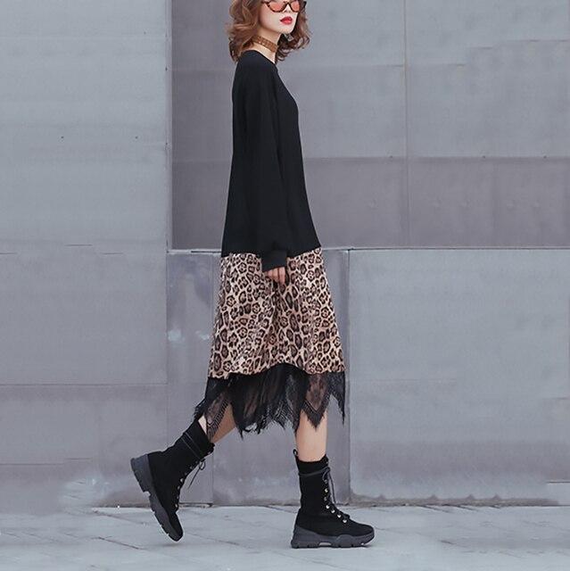 [EAM] 2019 New Spring Winter Round Neck Long Sleeve Black Hem Leopard Lace Large Size Thick Dress Women Fashion Tide JK869 3