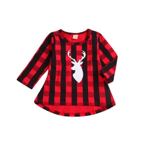 712361f5af33 Christmas Newborn Kids Baby Girls Princess Plaid Deer Long Sleeve Dress  Clothes