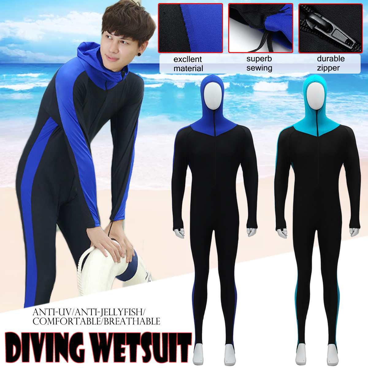 Skin Dive Wetsuit One Piece With Hood Jump UV Proction Men Diving Suit Full Body Long Sleeve Surfing Snorkeling Scuba Wet Suit
