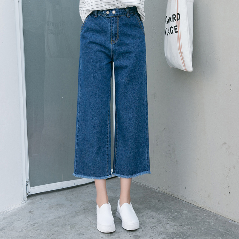 Spring Autumn Ladies Tassel Wide-Leg Pants Loose   Jeans   Cotton High Waist Vintage   Jeans   Women Blue Denim Pants New