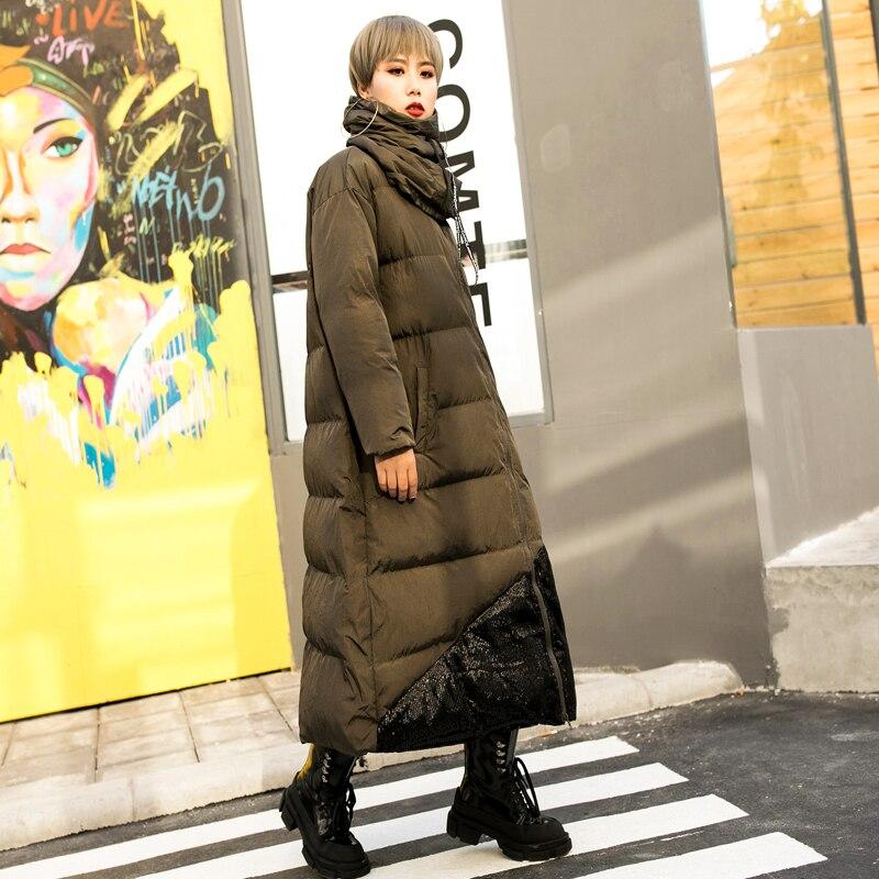 Green Veste Army Hiver Long Paillettes Pardessus La Patchwork Mode De Manteau À Plus Parka Capuchon Okq042 Chaud Outwear Corée Femme Épais Taille nR1vqvw0YA