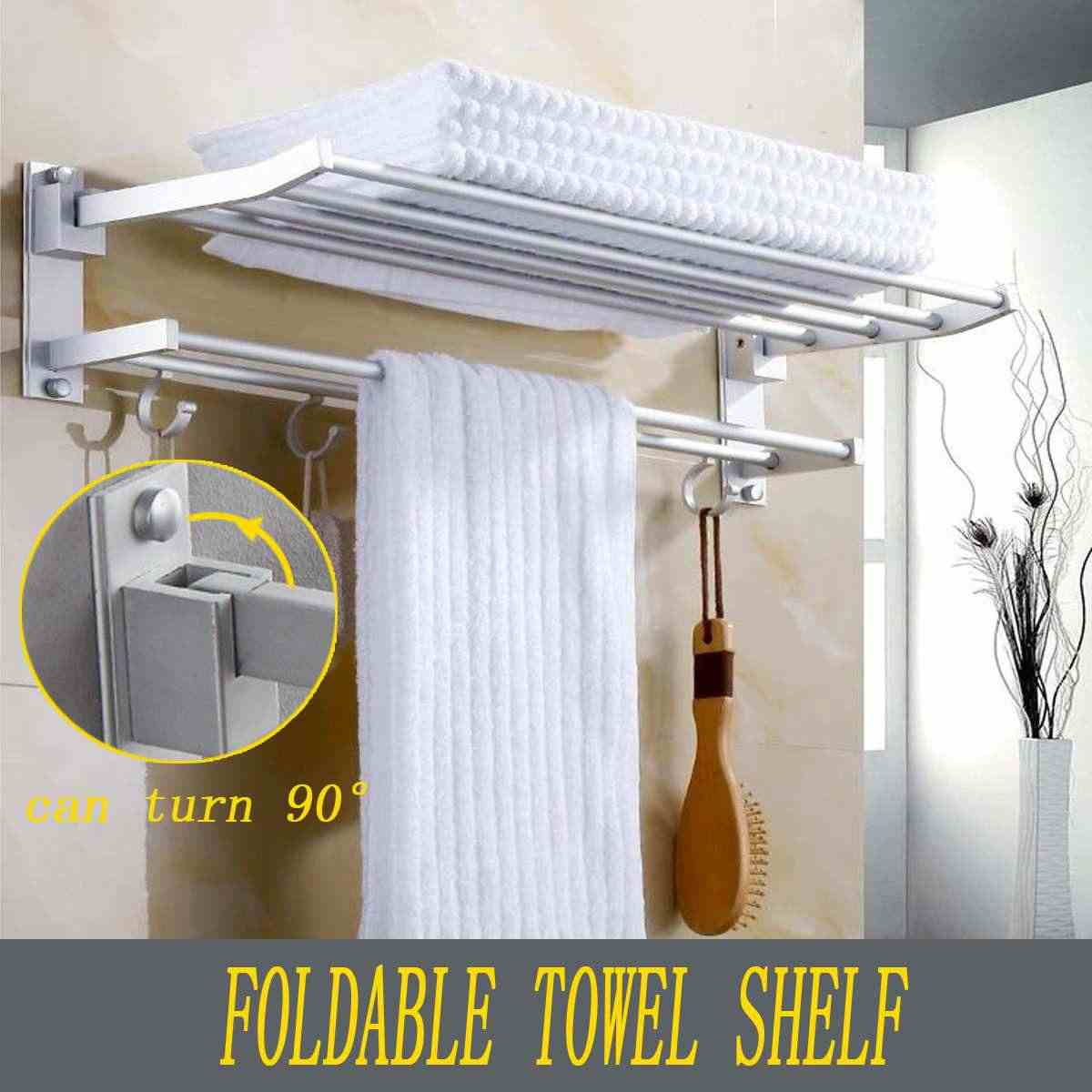 Xueqin Bathroom 2Layer Foldable Towel Racks Towel Rack Wall Mounted Space Aluminum Towel Shelf With Hooks Bath Rails Bars