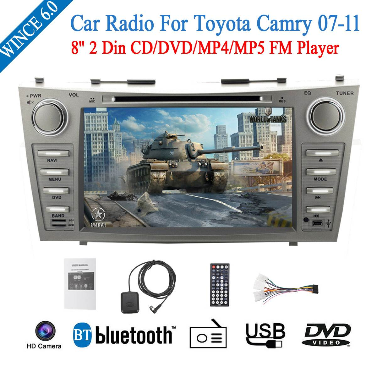 2 Din 8 WINCE 6.0 Car DVD GPS Navigation For Toyota Camry 2007 2008 2009 2010 2011 Head Unit Car Stereo radio CD/DVD/MP4/MP52 Din 8 WINCE 6.0 Car DVD GPS Navigation For Toyota Camry 2007 2008 2009 2010 2011 Head Unit Car Stereo radio CD/DVD/MP4/MP5