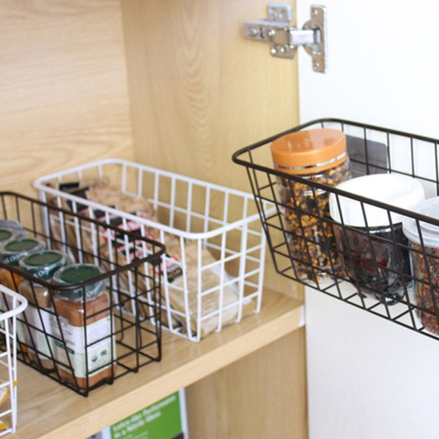 US $9.68 23% OFF|Kitchen Hanging Seamless Metal Storage Shelf Dish Basket  Adhesive Type Kitchen Rack Holder Organizer D5-in Racks & Holders from Home  ...