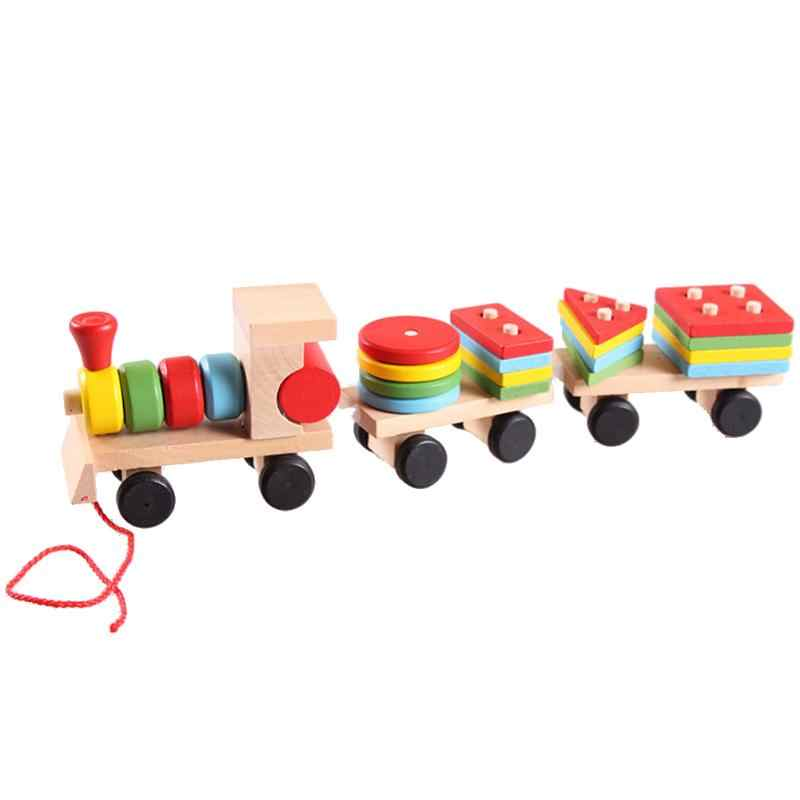 Wooden Stacking Train Building Blocks Toy Kids Educational Toy Vehicle Baby Colorful Wood Stacking Train Toddler Blocks Toy Gift
