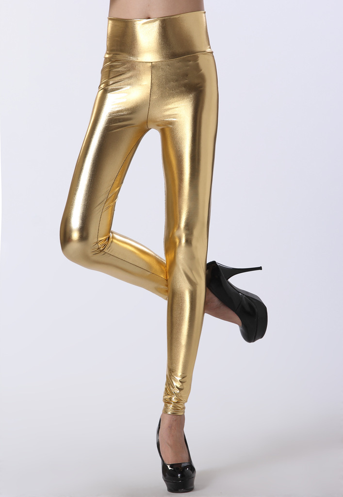 Lady Sexy Elastic PU Leather Leggings High Waist Thick Pants Women