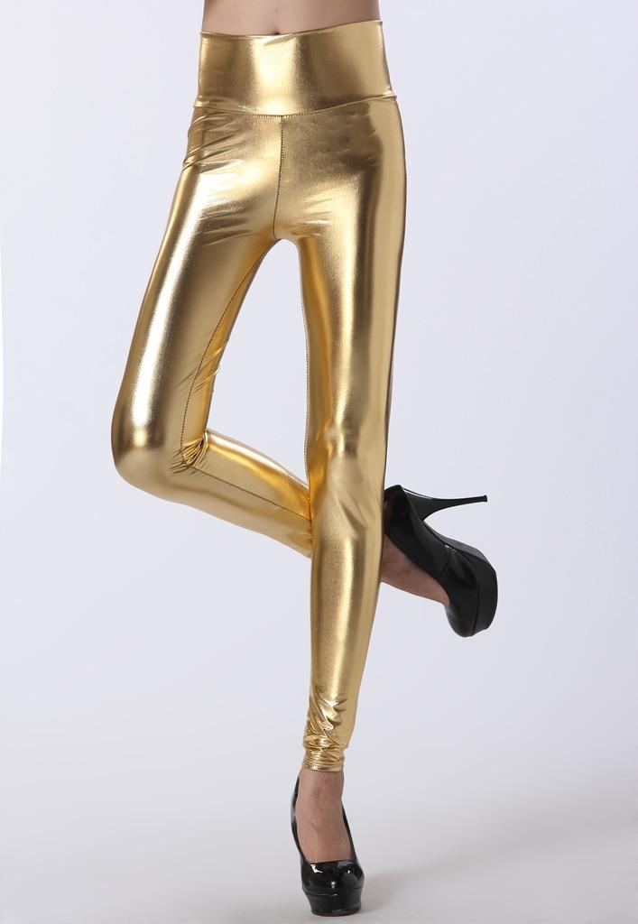 Lady Sexy Elastic PU Leather Leggings High Waist Thick Pants Women