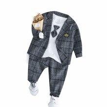 2019 New Spring Baby Boys Clothing Male Children Suits Kid Gentleman Tie Style Coats T Shirt Pants 3PCS/Sets Grid Infant Clothes