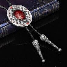 Nickwear овальные рубиновые с черным плетеные кожаные Галстуки Bolo классические мужские рубашки костюмы ожерелье с галстуком Регулируемый Западный галстук-бабочка Bolo