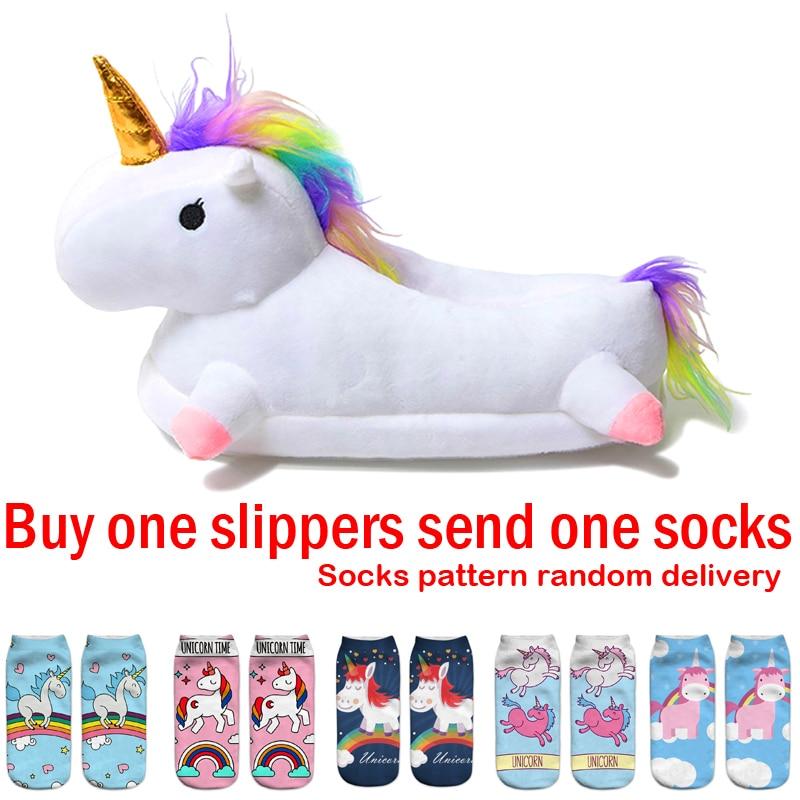 Winter Warm Kids Slippers Unicorn Plush Slippers Cartoon Cute Baby Cotton Home Shoes Boys Girls Slippers White 28-42