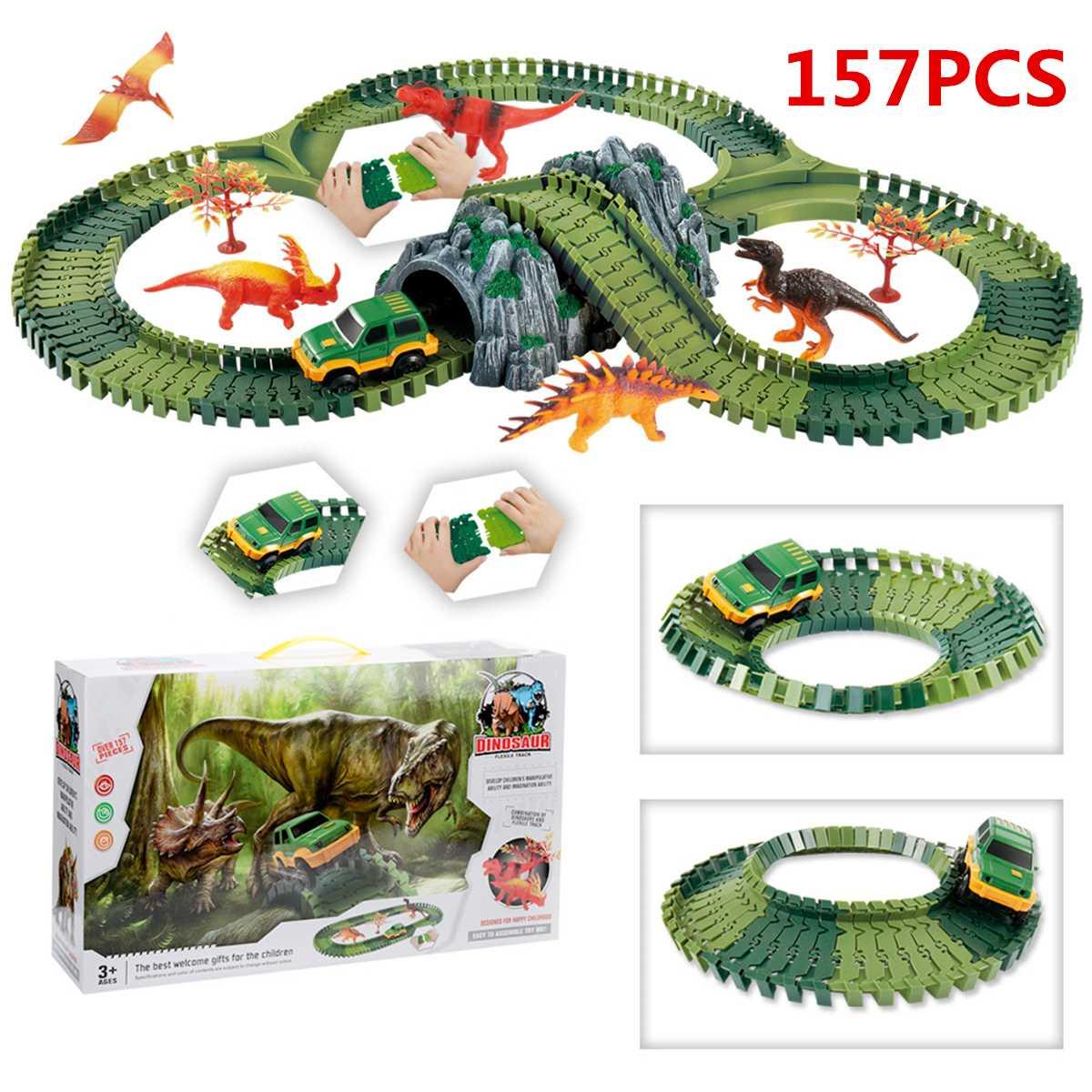 157 pièces magique course piste jeu ensemble bricolage Flex course piste drôle dinosaure éducatif Rail voiture jouet course pistes enfant cadeaux