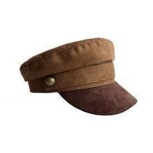 Мужская и женская кожаная шляпа в стиле милитари с плоской подошвой, армейская Кепка на заказ, британский стиль, берет Browm для мужчин и женщин