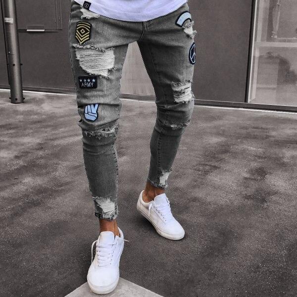 Homme Jeans Hip Streetwear Hommes Ciel Genou Noir Zipper O8r2 bleu Slim Déchirés pu Pantalon Du Vêtements Trous Serrés Fit gris Hop 1r7q1z