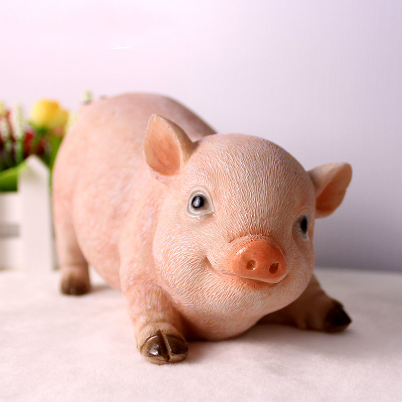 Pig Lovely Simulation Resin Home Decoration Accessories Modern Figurine Living Room Ornaments