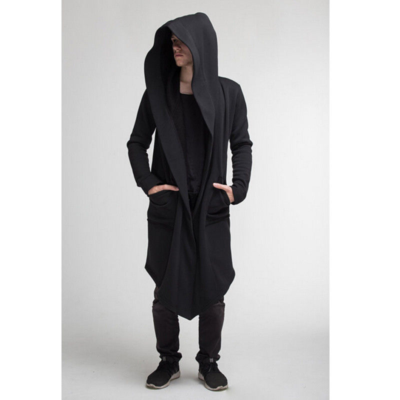New Punk Mens Cardigan Hooded Long Cloak Cape Coat Cosplay Loose Casual Jacket