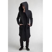 Унисекс Повседневный открытый стежок с капюшоном длинный плащ пальто для мужчин женщин Сплошной карман свободные часы пальто