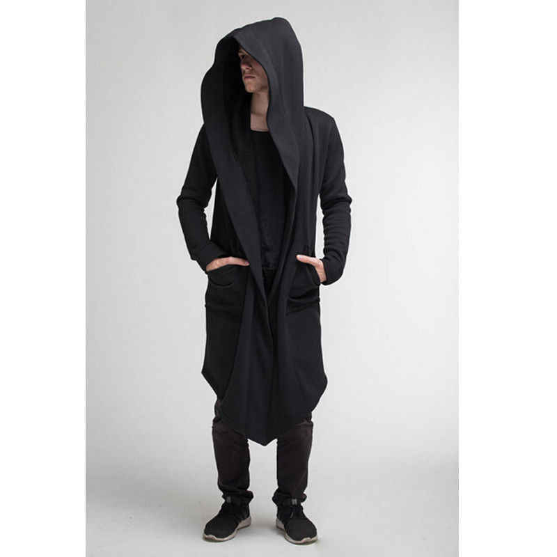 Unisex Casual Open Stitch Hooded Lange Mantel Cape Jas Mannen Vrouwen Solid Pocket Losse Klok Jas