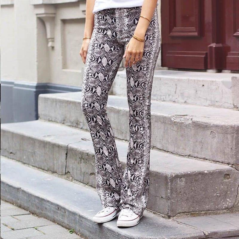2019 Vintage Women Pants Sexy Serpentine Printing Loose Flare Pants Snake Skin Print Long Trousers Elastic Waist Pantalon Femme